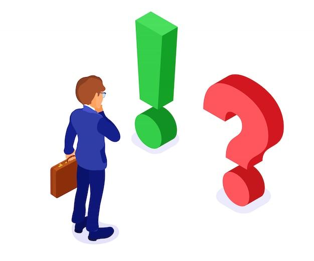 El empresario de carácter isométrico con maletín hace una elección con una pregunta roja y un examen isométrico de signo de exclamación verde aislado Vector Premium