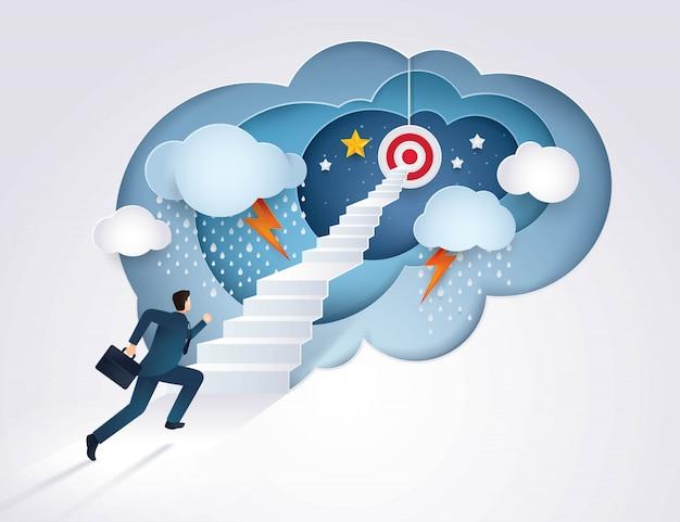 Empresario corriendo por la escalera hacia el objetivo, desafío, problema, camino hacia la meta Vector Premium