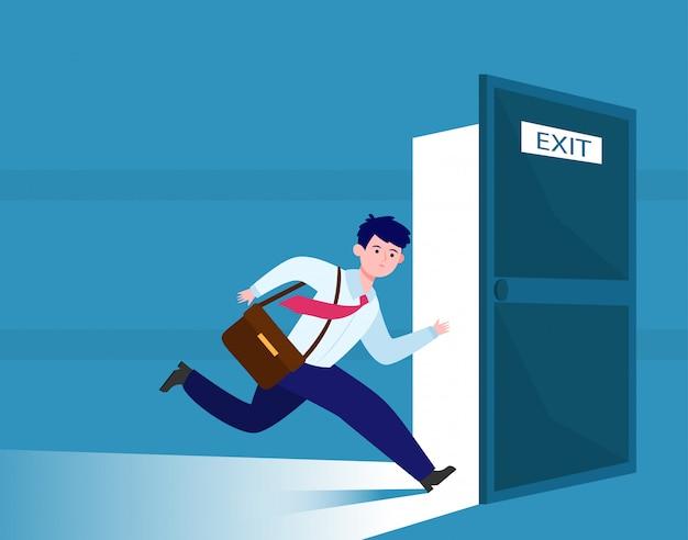 Empresario corriendo para escapar de la salida vector gratuito