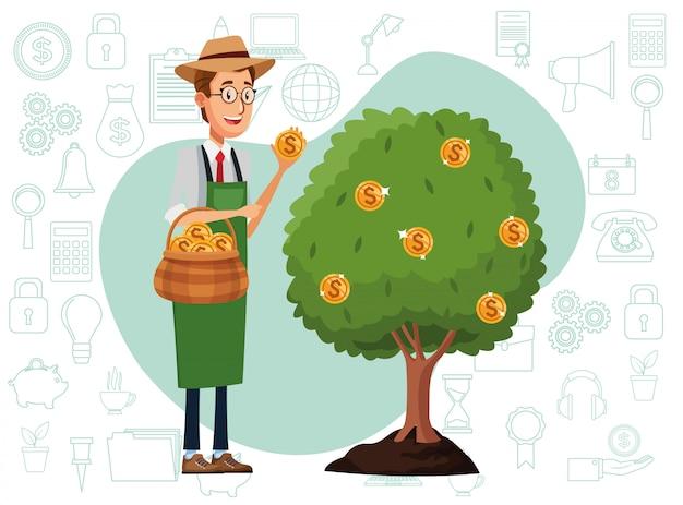 Empresario cultivando árbol de dinero Vector Premium