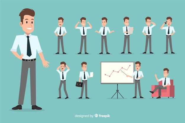 Empresario en diferentes situaciones vector gratuito