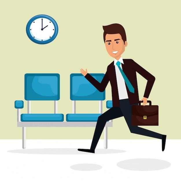 Empresario elegante en la sala de espera vector gratuito