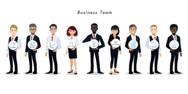 Empresario y empresaria personaje de dibujos animados trabajo en equipo Vector Premium
