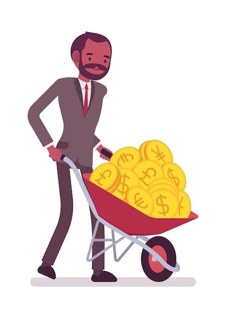 Empresario empujando una carretilla llena de monedas de oro Vector Premium
