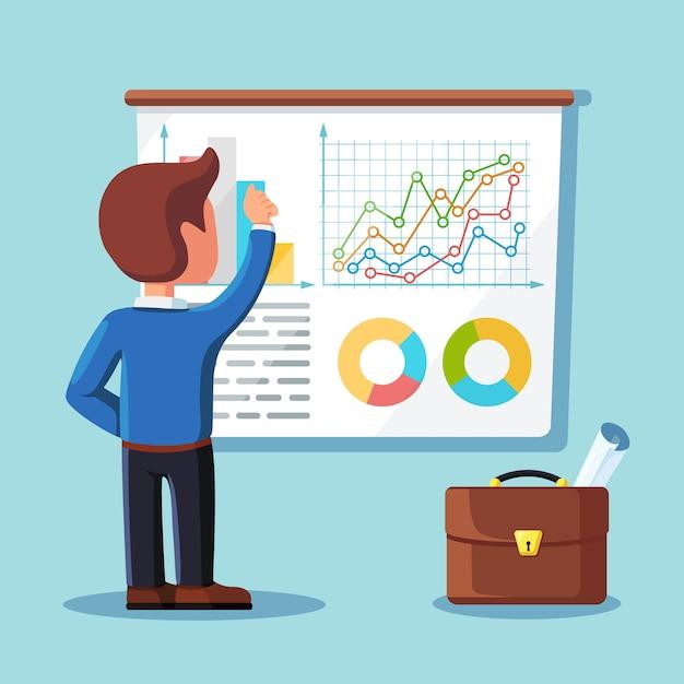 Empresario escribiendo gráficos de proyectos en pantalla, tablero. reunión, presentación, seminario, concepto de formación. altavoz sobre fondo blanco. analista de negocios, consultor. Vector Premium