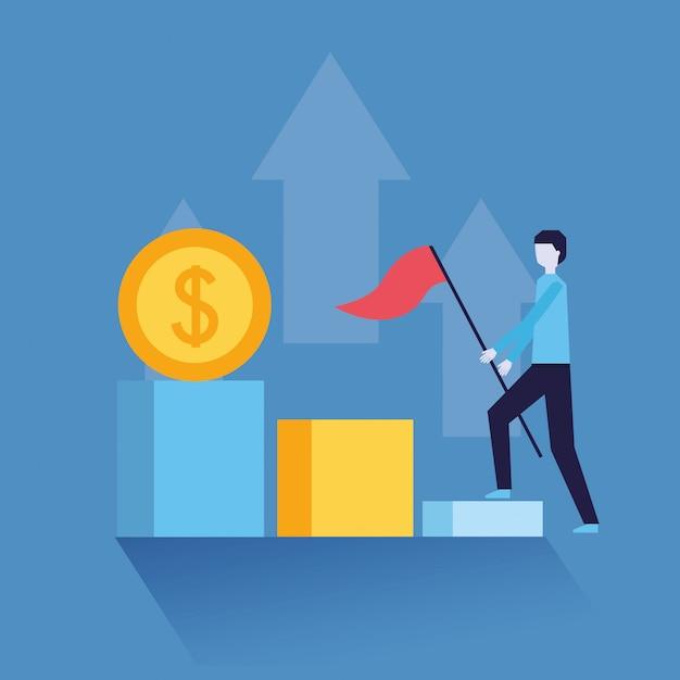 Empresario éxito dinero vector gratuito