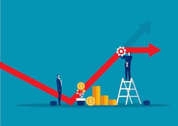 Empresario fijación gráfica financiera decreciente con concepto de herramienta llave Vector Premium