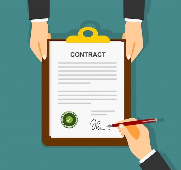 El empresario se firma en el contrato de papel de acuerdo. vector Vector Premium