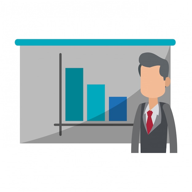 Empresario con gráfico de estadísticas en pizarra Vector Premium