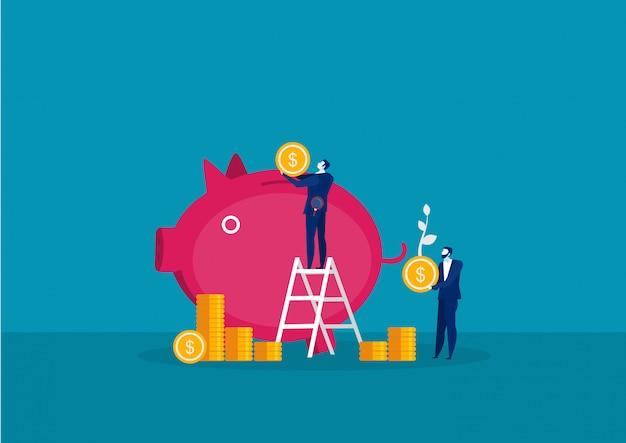 Empresario con gran moneda para ahorrar dinero con crecimiento de cerdo concepto de inversión Vector Premium