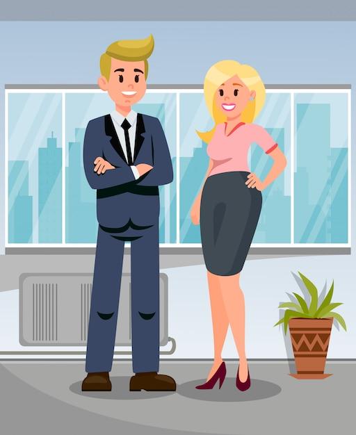 Empresario con ilustración de asistente personal Vector Premium