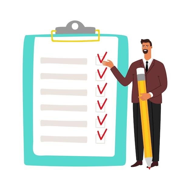 Empresario y lista de verificación. hombre con lápiz y lista de tareas. Vector Premium