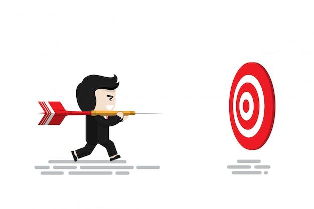 El empresario lleva un gran dardo rojo corriendo para apuntar al tablero de dardos, personaje de diseño plano, elemento de ilustración, concepto financiero Vector Premium
