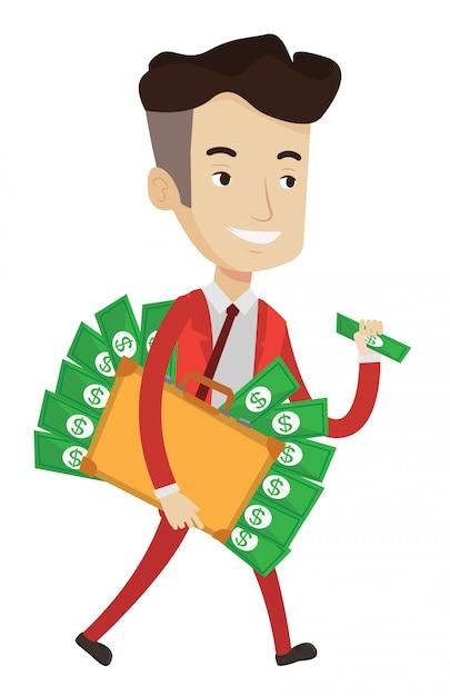 Empresario con maletín lleno de dinero. Vector Premium