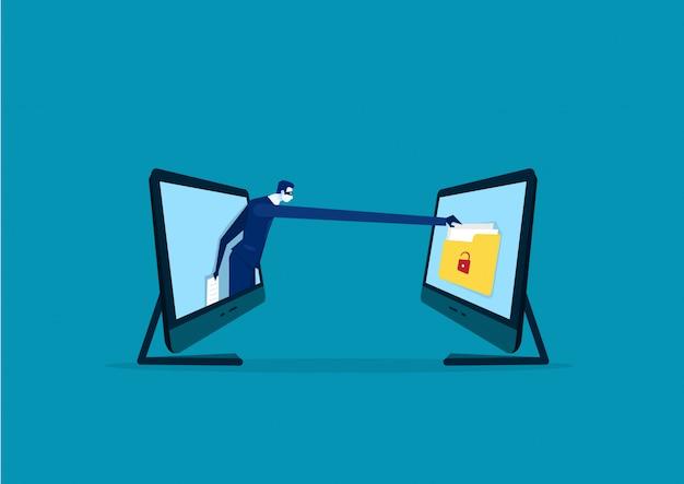 Empresario con una mano quiere robar información de una computadora portátil Vector Premium