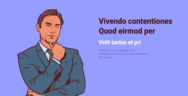 Empresario mantenga el dedo de la mano en el mentón hombre de negocios reflexionando sobre dibujos animados masculinos Vector Premium