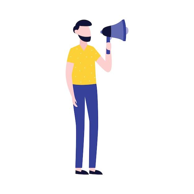 Empresario con megáfono icono de publicidad o promoción. Vector Premium