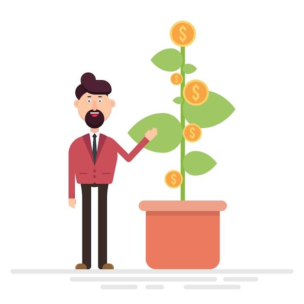 Empresario mostrando planta con monedas de dólar ilustración vectorial Vector Premium