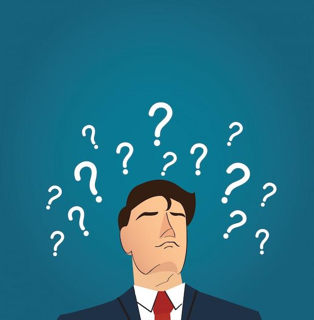 Empresario con muchos signos de interrogación Vector Premium