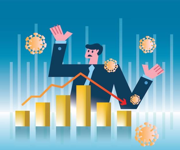 Empresario de pánico con colapso del mercado de valores o crisis de la economía financiera causada por coronavirus. ilustración de diseño plano Vector Premium