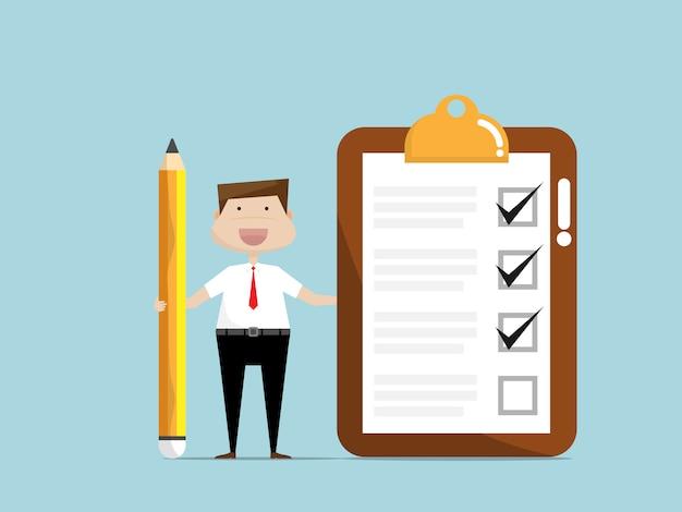 Empresario con papel de lista de verificación en portapapeles Vector Premium