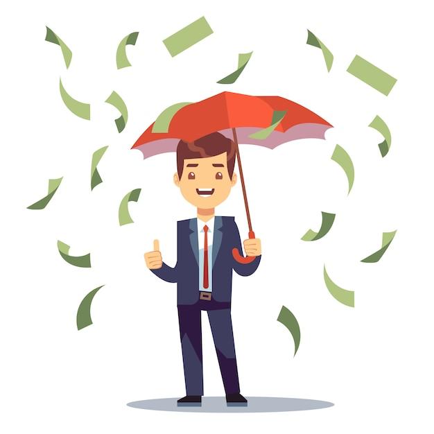 Empresario de pie con paraguas en dinero lluvia Vector Premium