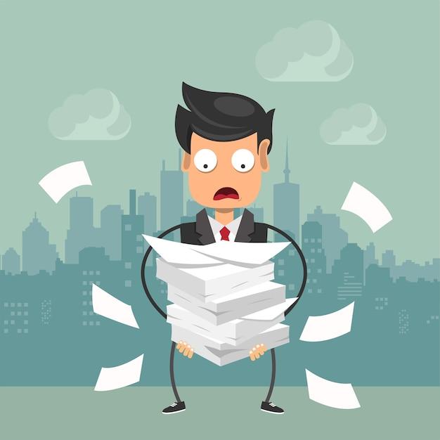 Empresario con pila de papel, concepto de fecha límite Vector Premium
