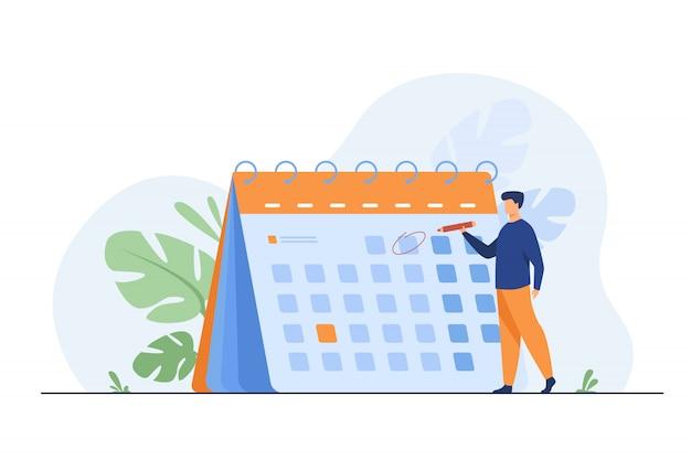 Empresario planificando eventos, plazos y agenda vector gratuito