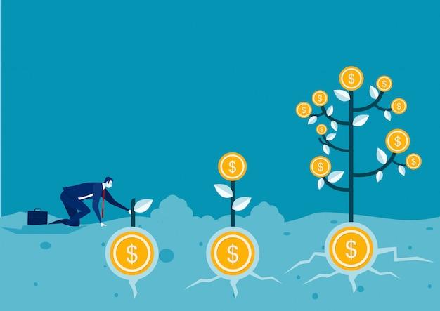 Empresario planta dinero moneda árbol crecimiento ilustración Vector Premium