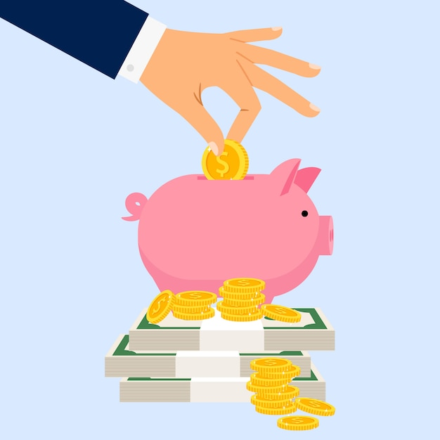 Empresario pone moneda en alcancía Vector Premium