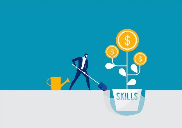 Empresario regando un árbol de dinero con habilidades rendimiento crecimiento trabajo cocept Vector Premium