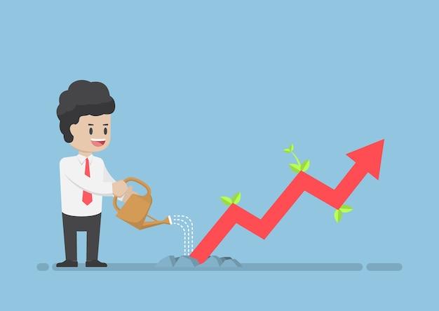 Empresario riego gráfico empresarial que el crecimiento a través del suelo Vector Premium