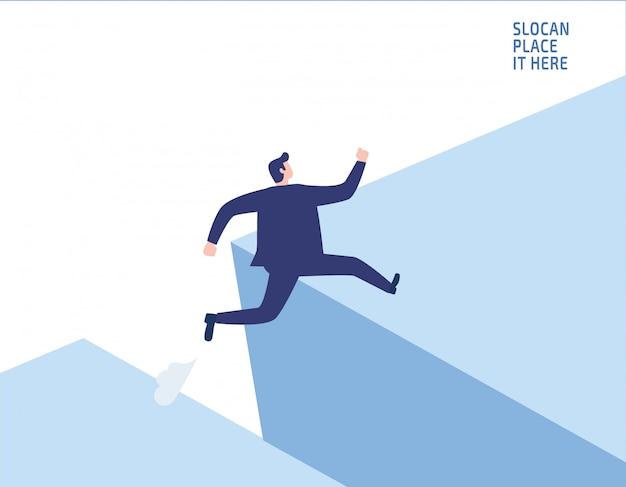 Empresario saltando por encima de la brecha de riesgo empresarial Vector Premium