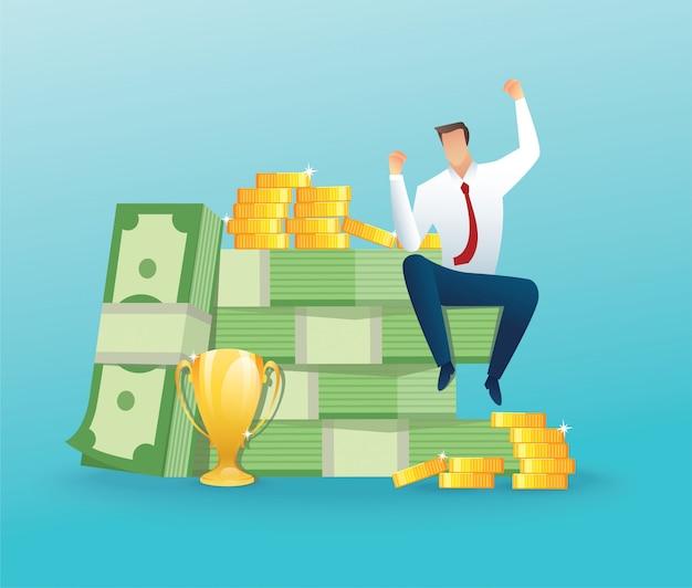 Empresario sentado con mucho dinero y monedas Vector Premium