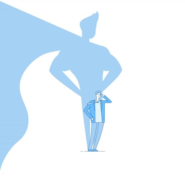 Empresario con sombra de superhéroe Vector Premium