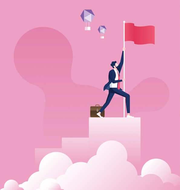 Empresario sosteniendo una bandera en la parte superior del gráfico de la columna Vector Premium