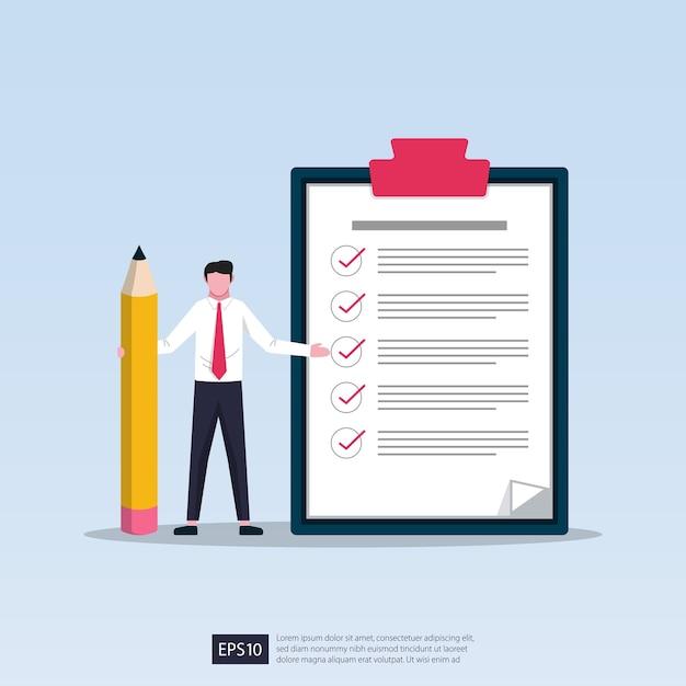 Empresario sosteniendo un lápiz con una lista de verificación gigante y una ilustración del portapapeles Vector Premium