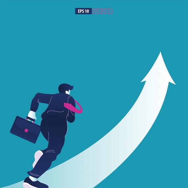 Empresario sosteniendo un maletín corriendo a la flecha. Vector Premium