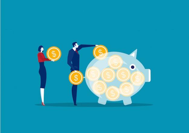 Empresarios ahorrando y acumulando dinero Vector Premium