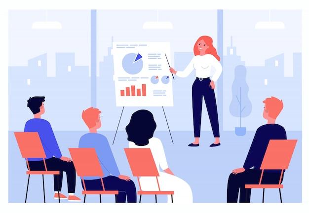 Empresarios aprendiendo conferencia de finanzas con entrenador o orador Vector Premium