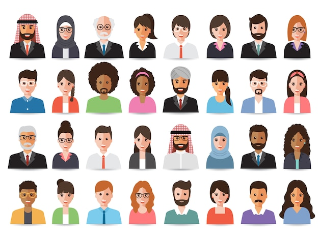 Empresarios y avatares de mujeres empresarias. Vector Premium
