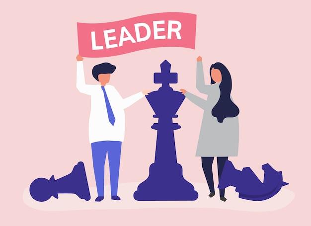 Empresarios con bandera de liderazgo y piezas de ajedrez gigantes. vector gratuito