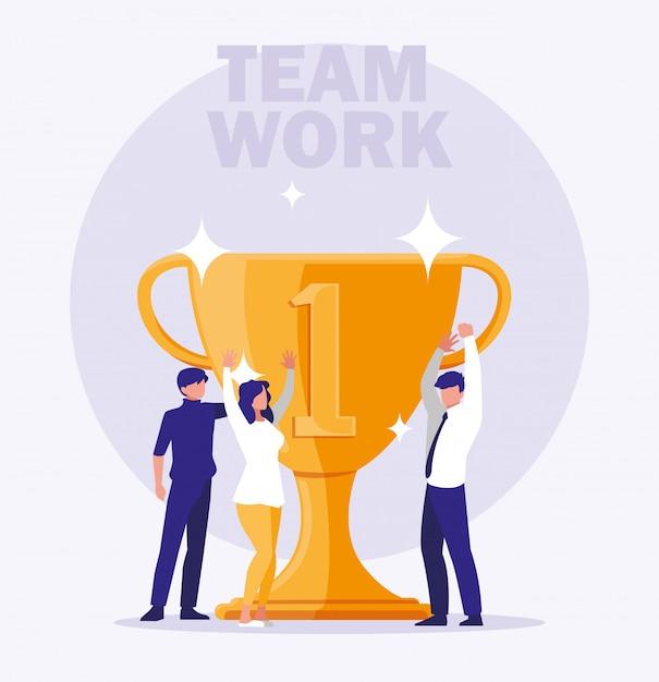 Empresarios celebrando con copa trofeo Vector Premium