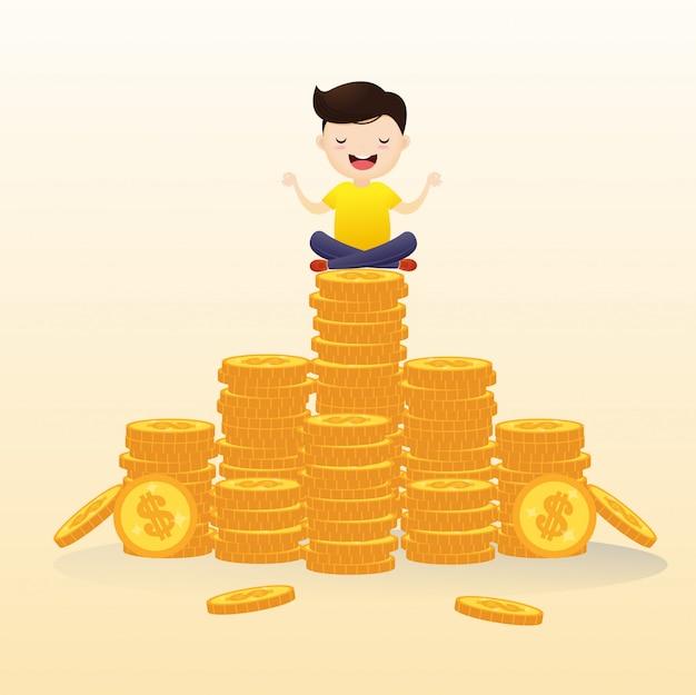 Los empresarios colgaban en el aire meditando sobre el efectivo. Vector Premium