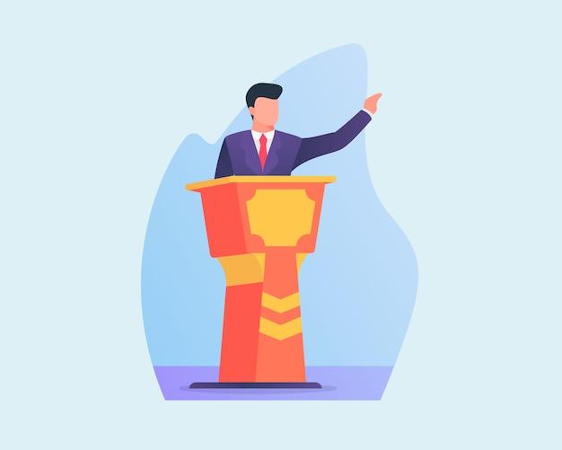 Empresarios dan discurso en podio con estilo plano Vector Premium