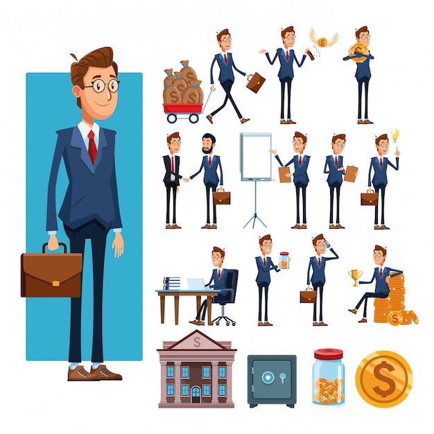 Empresarios y elementos de negocios dibujos animados. Vector Premium