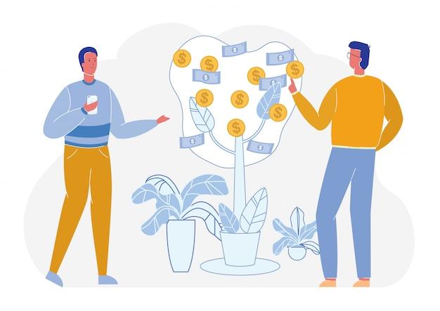 Empresarios exitosos crece dinero árbol financiero. Vector Premium