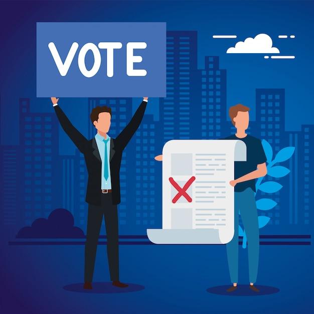 Empresarios con forma de voto en paisaje urbano Vector Premium