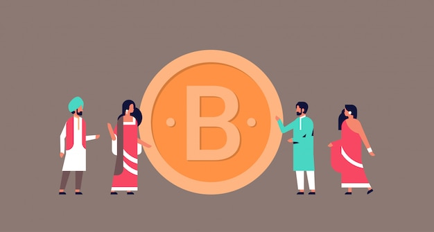 Empresarios indios minería bitcoin crypto moneda banner Vector Premium