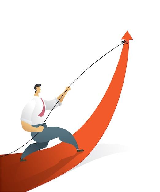 Los empresarios que tiran del gráfico de flecha van camino a la meta u objetivo Vector Premium